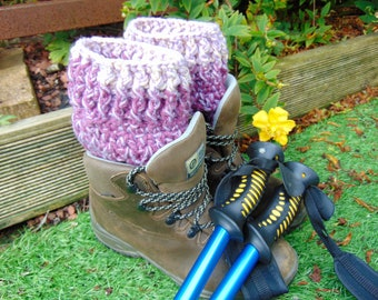 Tayberry Short Boot Cuffs, Purple and Pink Ankle Warmers, Aran Yarn Welly Toppers, Unisex Adult Size, Hiker Gifts for Outdoor Enthusiasts.