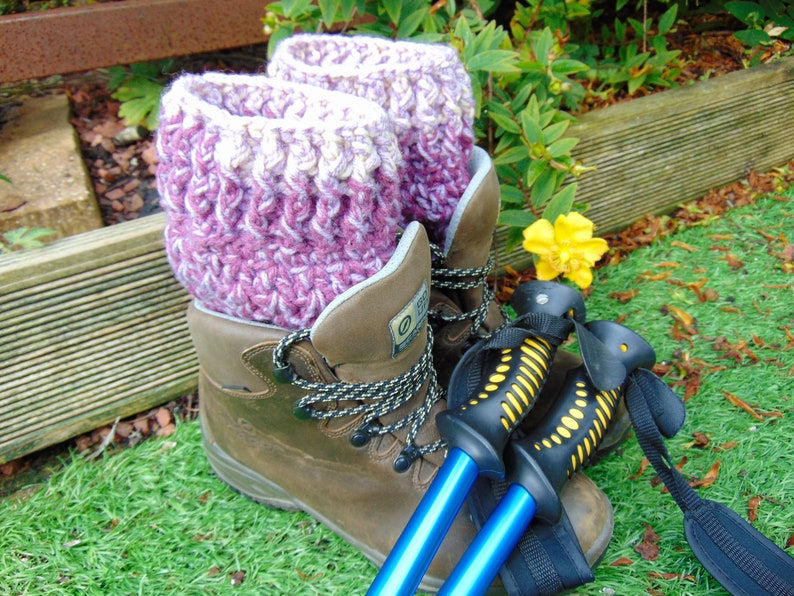 Tayberry Short Boot Cuffs Purple and Pink Ankle Warmers Aran image 0