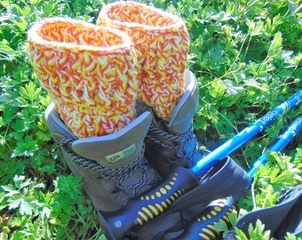Boot Cuffs, Orange, Yellow and White Ankle Warmers, Chunky eco yarn made from recycled plastic bottles, Unisex Adult Size, Outdoor Gifts.
