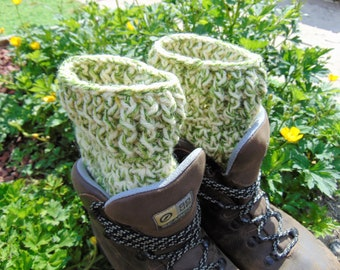 Boot Cuffs, Khaki Camo, Green and Cream Ankle Warmers, Chunky Aran Yarn, Unisex Adult Size, Hiker Gifts for Outdoor Enthusiasts.