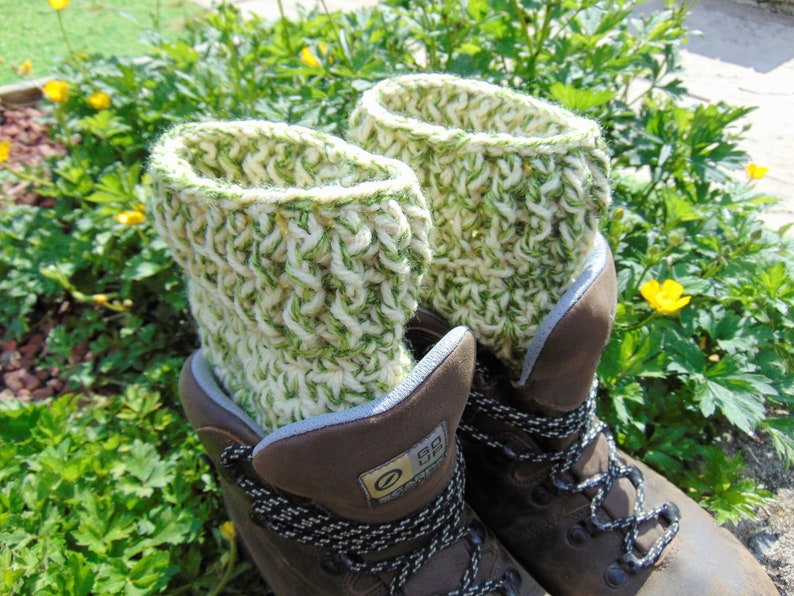 Boot Cuffs Khaki Camo Green and Cream Ankle Warmers Chunky image 0