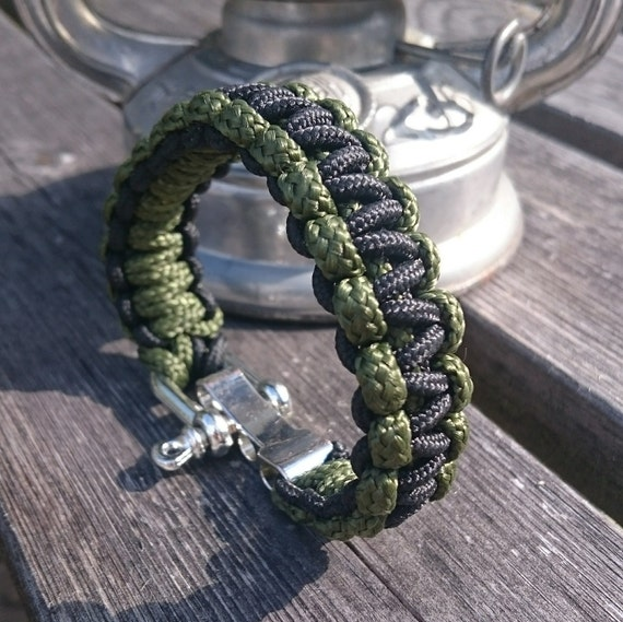 Survival Rope Paracord Bracelet Outdoor Camping Hiking Steel Shackle Buckle IL