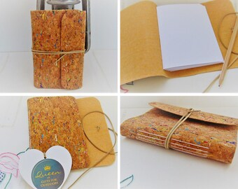 Traveller Notebook, Rainbow Cork Fabric Bullet Journal with plain, lined or mixed A6 pages and coordinating wrap tie, pocket sized planner.