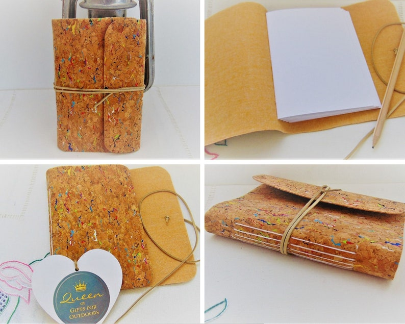Traveller Notebook Rainbow Cork Fabric Bullet Journal with image 0