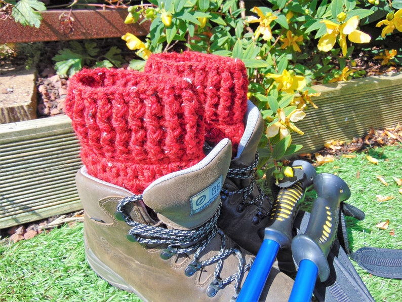 Red Chilli Short Boot Cuffs Chunky Ankle Warmers Unisex image 0