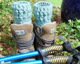 Boot Cuffs, Earth Tones Green, Chunky Aran Ankle Warmers, Unisex Adult Size, Hiker Gifts for Outdoor Enthusiasts.