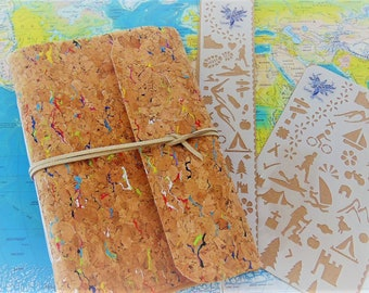 Adventure Journal with Activities Stencils Set, cork fabric traveller notebook, pocket sized, plus bookmark or A6 BuJo shapes template.