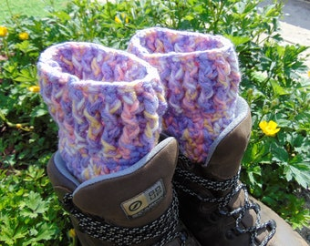 Boot Cuffs, Cotton Candy, Purple, Yellow and White Ankle Warmers, Unisex Adult Size, Chunky Aran Yarn, Hiker Gifts for Outdoor Enthusiasts.