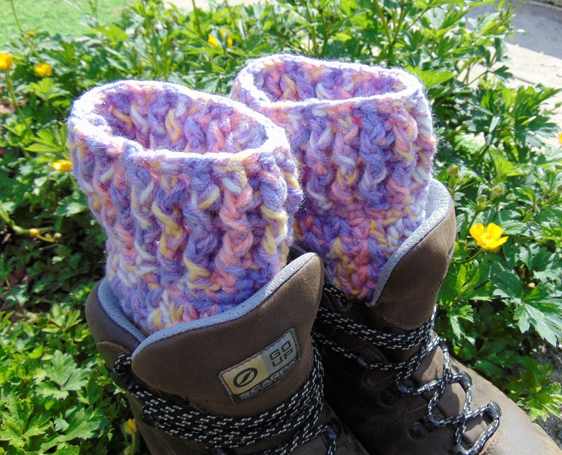 Boot Cuffs Cotton Candy Purple Yellow and White Ankle image 0