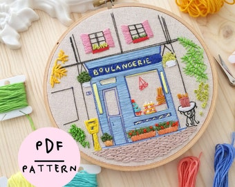 The Little French Bakery - PDF embroidery pattern, DIY beginner