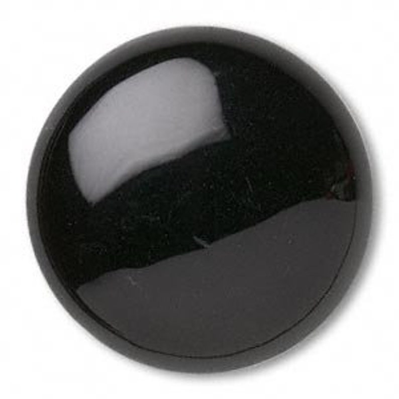 All Black Glass Cabochon Fantasy Eyes Button Style Flat Back