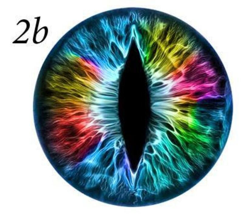 Fantasy Glass Cabochon Hand Printed Eyes Flat Back Rainbow Blue 2B
