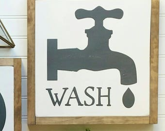 wash | framed wood sign