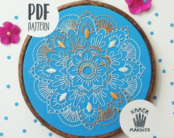 MANDALA - PDF Embroidery Pattern, Beginner Embroidery Hoop Art, Embroidery Design, DIY by Mr Knack