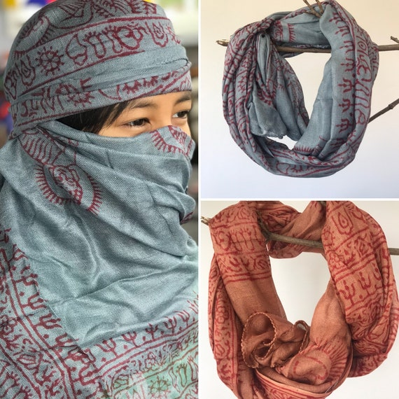 Super soft hand woven cotton with Block printed Om Scarf/shawl/wraparound,face mask,summer scarfs