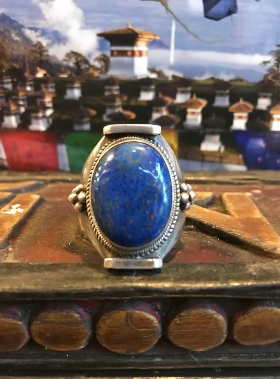 Antique Tibetan sterling silver Lapis lazuli ring,