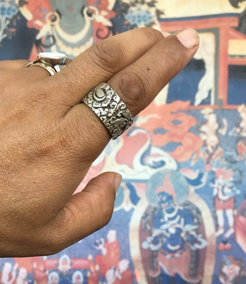 Thick Solid 925 silver Ring Band,with Tibetan floral design engraved to cherish you always.Handcrafted in Nepal.Joy ringhappiness bandring