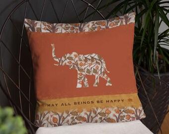 """Happy Elephant 18x18"""" Throw Pillow"""