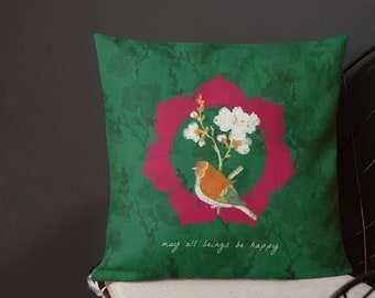 "Happy Bird Green 18x18"" Pillow"