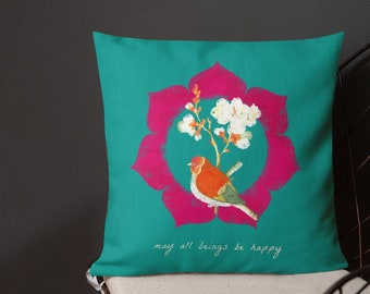 "Happy Bird 18x18"" Throw Pillow"