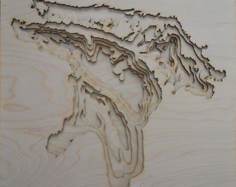 Plywood Laser Cut Lake Huron Topography