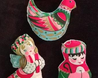 4 Ultra Felt Fabric Stuffed Christmas Ornaments