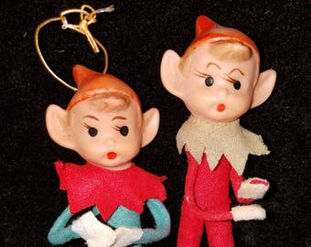 Set of 2 Rubber Face Pixie Elf Christmas Ornaments