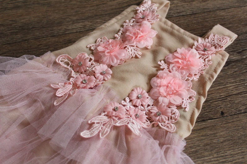floral romper sitter props sitter floral outfit beige photo prop sitter romper and tieback- baby girl photography Prop crown