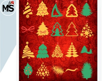 Christmas Tree SVG Cut Files, Christmas Tree Silhouettes, SVG Cut Files for Cricut, Silhouette and other Vinyl Cutters, svg files Vector art