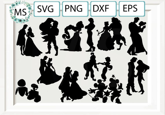 Disney Princess Svg Silhouette Clipart Pack Prince Svg Svg Etsy