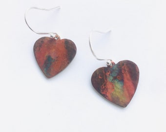 Heart Shaped Earrings with sterling silver ear wires.