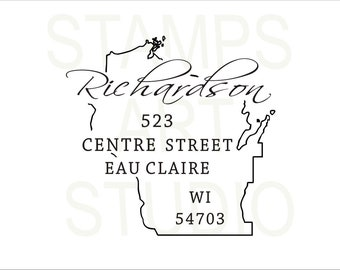 Wisconsin, Square Stamp, Self Inking Address Stamp, Address Stamp, Custom Address Stamp, Return Address Stamp, Housewarming Gift - WI