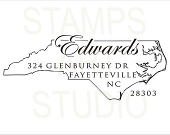 North Carolina, Self Inking Address Stamp, Wedding Stamp, Address Stamp, Custom Address Stamp, Return Address Stamp, Housewarming Gift - NC