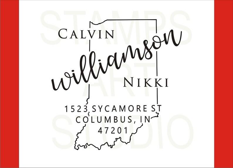 Self Inking Address Stamp Address Stamp Return Address Stamp Indiana Custom Address Stamp Housewarming Gift IN Square Stamp