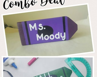 Combo: Crayon Name Plate and Hall Pass, Crayon Hall Pass, Crayon Name Plate, Classroom Pass, Teacher Gifts, Personalized Teacher Gifts,