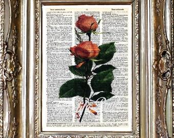 Rose Dictionary Art Print, Flower Sheet Music Art Print, Flower Print on Vintage Paper, Dictionary Art, Sheet Music Art, Rose Art Print
