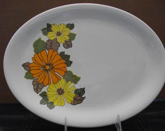H. Aynsley & Co Orange/Yellow Flower Platter/MCM/Serveware