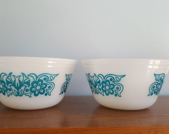 Vintage Federal Glass Blue Tulips/Turquoise/Casserole/Milk Glass
