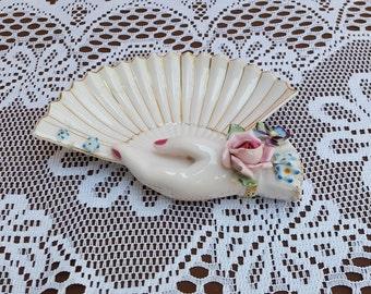 Vintage Pink&Gold L'Amour China Trinket Dish/Jewellery