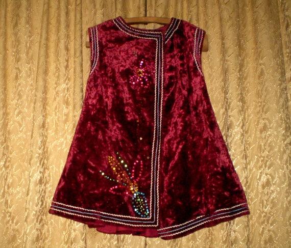 Vintage Ukrainian Vest Red  Velvet Waistcoat Antiq