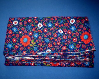 Vintage Floral Fabric Soviet Cotton Fabric Flowers Pattern Chintz