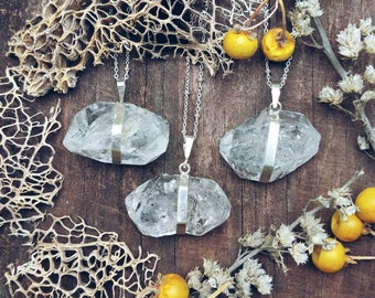 Raw Herkimer diamond pendants on sterling silver chain