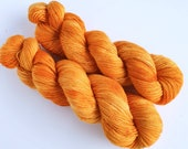 Bright Penny - Hand Dyed Singles Yarn, 100 Merino, Golden Orange Yarn, Single Ply Yarn
