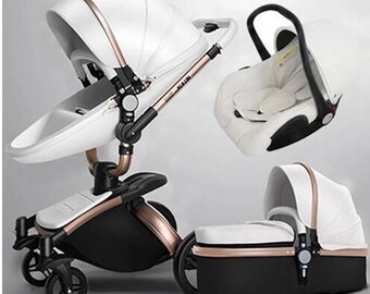 Baby Stroller and Car Seat Set from Infant to Toddler, 3 in 1, 2 in 1, Artificial Leather, Easy Wipe, Easy Clean, Stylish, Fashionable, Cute