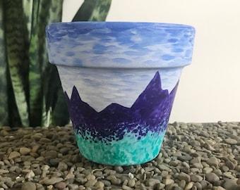 Purple Mountains Majesty Unique Succulent and Houseplant Planter Pot