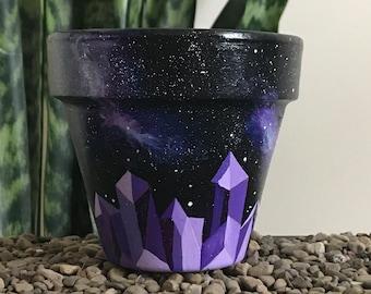 Amethyst Angles Celestial Unique Succulent and Houseplant Planter Pot