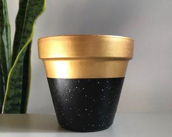 Gold Crest Night Sky Pot Unique Terra Cotta Succulent & Houseplant Planter Pot