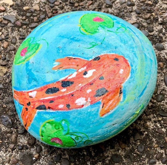 Blue Koi Pond with Fish Painted Rock Flowerbed Accessory Garden Stone Home and Yard Decor