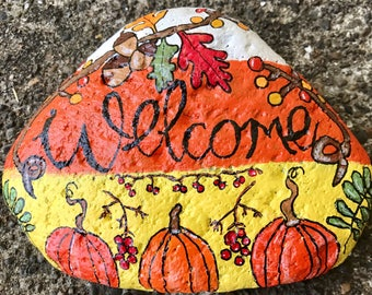 Candy Corn Fall Seasonal Welcome Stone --Painted Rock-- Garden Stone, Front Door, Home Decor & Gift @TheDoodlingMoon