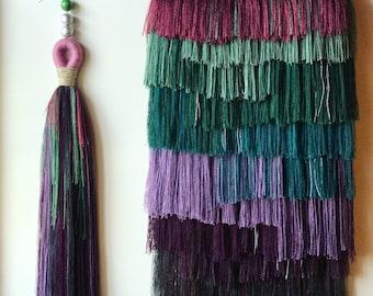XL Jumbo Boho Wall Tassel Pink Purple and Green